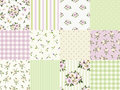Set of seamless floral and geometric patterns for scrapbooking. Vector illustration. Royalty Free Stock Photo