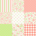 Set of seamless floral and geometric patterns. Vector illustration. Royalty Free Stock Photo