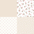 Set of seamless floral and geometric pink and beige patterns. Vector illustration. Royalty Free Stock Photo