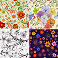 Set seamless floral pattern Royalty Free Stock Photos