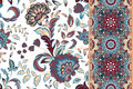 Set of seamless floral pattern and border for design. Hand draw vector Illustration. Seamless background with flowers. Royalty Free Stock Photo