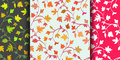 Set: 3 Seamless floral pattern with branches and leaves, abstract texture, endless background. Vector illustration
