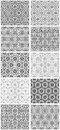 Set of seamless floral patterns with traditional ornament