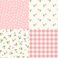 Set of seamless floral pink and white patterns. Vector illustration. Royalty Free Stock Photo