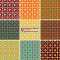 Set of seamless floral retro patterns in folk style Royalty Free Stock Photo