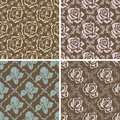 Set of seamless floral retro patterns. Royalty Free Stock Photo