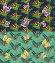 Set of seamless flowers and butterflies pattern