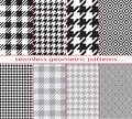 Set of seamless geometric black and white patterns, houndstooth, diamond, checkerboard. Royalty Free Stock Photo