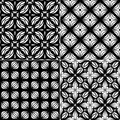 Set seamless geometric pattern black and white wallpaper Royalty Free Stock Photography
