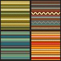 Set of seamless geometric patterns in ethnic style Royalty Free Stock Images