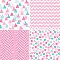 Set seamless geometric patterns pink white mint
