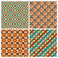 Set of seamless geometric retro patterns for textiles interior design for book design website background Royalty Free Stock Image