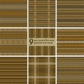 Set of seamless geometric rustic patterns in brown and orange co Royalty Free Stock Photo