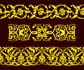 Set of seamless golden patterns and floral elements in ethnic national style of Uzbekistan, Central Asia, vector illustration. Royalty Free Stock Photo