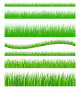Set of seamless grass green Stock Photos