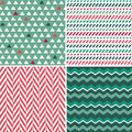 Set of seamless green and red background patterns in for christmas birthday gift wrapping paper Royalty Free Stock Photo