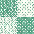 Set of seamless green shamrock leaf patterns