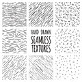 Set of seamless hand drawn irregular uneven black and white textures vector illustration Royalty Free Stock Photos