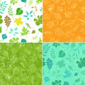 Set of seamless leaves patterns. Royalty Free Stock Photo