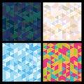 Set of seamless mosaic triangle pattern. Vector geometric backgr
