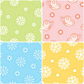 Set of seamless nature patterns. Stock Photo