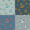 Set of seamless nautical patterns with anchors in different color paletts theme Stock Photo