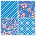 Set of seamless nautical patterns on blue background with white rope anchors wheels lifebuoy ready to use as swatch Stock Image