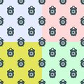 Set seamless pattern alarm clock on colorful background Royalty Free Stock Photo