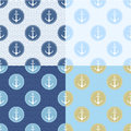 Set of Seamless pattern with anchor, ship steering, waves. Collection of sea background, illustration of ocean marine