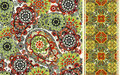 Set of seamless pattern based on traditional asian elements paisley and striped vector colorful background Royalty Free Stock Image