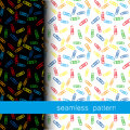 Set of seamless pattern with Clerical clip. vector