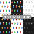 Set of seamless pattern with festive garland on white background. Colorful light bulbs. infinite texture. Drawing hands. Vector il