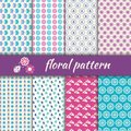 Set seamless pattern with flowers and bugs of floral patterns Stock Image