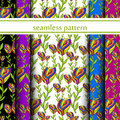 Set of seamless pattern with flowers. vector