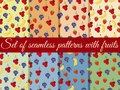Set of seamless pattern with fruit. Pattern of bananas, cherries, strawberries and grapes. Royalty Free Stock Photo