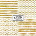 Set of seamless pattern gold glitter stripes, zigzag chevron, wavy stripe