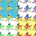 Set seamless pattern with gold merry dancing fun Caribbean parro