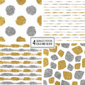 Set of seamless pattern gold and silver stripes, polka dots, mosaic spots