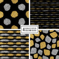 Set of seamless pattern gold and silver stripes, polka dots, mosaic spots