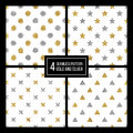 Set of seamless pattern golden and silvern star, circle, delta, plus