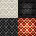 Set of seamless pattern in islamic style four backgrounds traditional damask wallpaper vector illustration Royalty Free Stock Photo