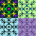 Set of seamless pattern of skulls colorful Royalty Free Stock Photo