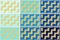 Set of 9 seamless pattern textures of golden rectangular geometric shapes over Blue shades background template Vector illustration