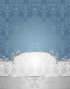 Set seamless pattern victorian style blue silver colors silver blue background Stock Photography