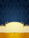 Set seamless pattern victorian style gold dark blue colors background Royalty Free Stock Photos