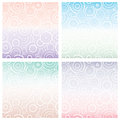 Set of seamless pattern with white circles of different size on gradient background. Geometric background