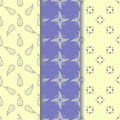 Set seamless pattern of yellow-beige ornament on a pastel blue and light yellow background Royalty Free Stock Photo