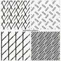 Set of seamless patterns the abstract distorted lines grids strips vector illustration Stock Photos