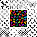 Set seamless patterns with butterflies Royalty Free Stock Photo
