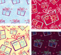 A set of seamless patterns. Christmas gifts. Stock Image